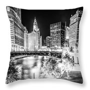Chicago River Buildings at Night in Black and White Throw Pillow by Paul Velgos