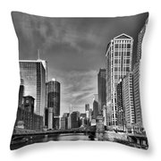 Chicago River In Black And White Throw Pillow by Sebastian Musial
