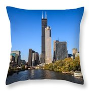 Chicago River With Willis-sears Tower Throw Pillow by Paul Velgos