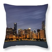 Chicago Skyline At Night Color Panoramic Throw Pillow by Adam Romanowicz