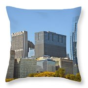 Chicago skyline from Millenium Park II Throw Pillow by Christine Till