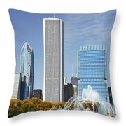 Chicago skyline from Millenium Park IV Throw Pillow by Christine Till