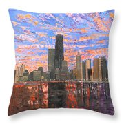 Chicago Skyline - Lake Michigan Throw Pillow by Mike Rabe