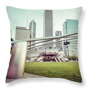 Chicago Skyline With Pritzker Pavilion Vintage Picture Throw Pillow by Paul Velgos