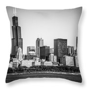 Chicago Skyline With Sears Tower In Black And White Throw Pillow by Paul Velgos