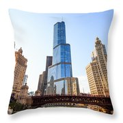 Chicago Trump Tower At Michigan Avenue Bridge Throw Pillow by Paul Velgos