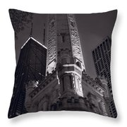 Chicago Water Tower Panorama B W Throw Pillow by Steve Gadomski