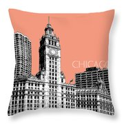 Chicago Wrigley Building - Salmon Throw Pillow by DB Artist