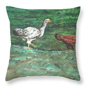 Chicks Throw Pillow by Usha Shantharam