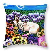 Chihuahua In Flowers Throw Pillow by Genevieve Esson