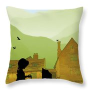 Childhood Dreams The Pram Throw Pillow by John Edwards