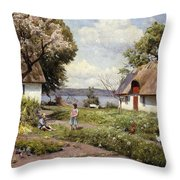 Children In A Farmyard Throw Pillow by Peder Monsted
