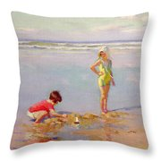Children On The Beach Throw Pillow by Charles-Garabed Atamian