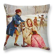 Children Skating Throw Pillow by Maurice Leloir