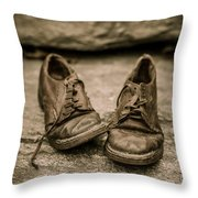 Child's Old Leather Shoes Throw Pillow by Edward Fielding