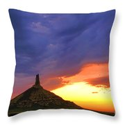 Chimney Rock Nebraska Throw Pillow by Olivier Le Queinec