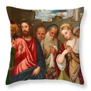 Christ and the Woman Taken in Adultery Throw Pillow by Veronese