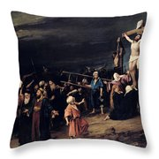 Christ On The Cross Throw Pillow by Mihaly Munkacsy