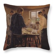 Christ with the Peasants Throw Pillow by Fritz von Uhde