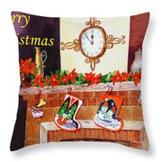 Christmas Card Throw Pillow by Irina Sztukowski