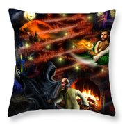 Christmas Greeting Card Throw Pillow by Alessandro Della Pietra