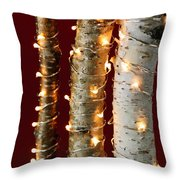 Christmas Lights On Birch Branches Throw Pillow by Elena Elisseeva
