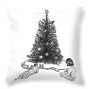 Christmas Morning Play  Throw Pillow by Peter Piatt
