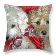 Christmas Puppy Throw Pillow by Bob Hislop