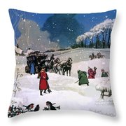 Christmas Scene Throw Pillow by English School