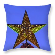 Christmas star during dusk time Throw Pillow by George Atsametakis