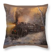 Christmas Train In Wisconsin Throw Pillow by Tom Shropshire