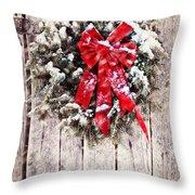 Christmas Wreath on Barn Door Throw Pillow by Stephanie Frey