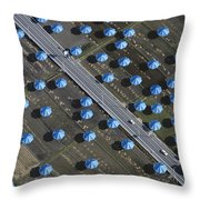 Christo Umbrellas In Japan Throw Pillow by Georg Gerster