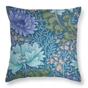 Chrysanthemums In Blue Throw Pillow by William Morris