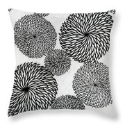 Chrysanthemums Throw Pillow by Japanese School