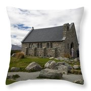 Church of the Good Shepherd Lake Tekapo New Zealand Throw Pillow by Jason O Watson