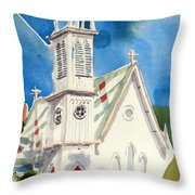 Church With Jet Contrail Throw Pillow by Kip DeVore
