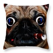 Cigar Puffing Pug - Electric Art Throw Pillow by Wingsdomain Art and Photography