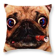 Cigar Puffing Pug - Painterly Throw Pillow by Wingsdomain Art and Photography