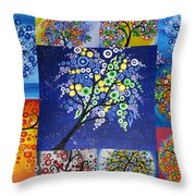 Circle Tree Collage Throw Pillow by Cathy Jacobs