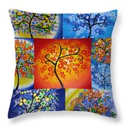 Circle Trees Throw Pillow by Cathy Jacobs