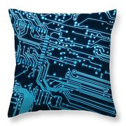 Circuit Board Throw Pillow by Carlos Caetano