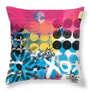 Circus - Contemporary Abstract Art Throw Pillow by Linda Woods