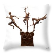 Citius Altius Fortius Oympic Art On White Throw Pillow by Adam Long