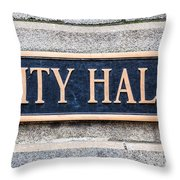 City Hall Municipal Sign In Chicago Throw Pillow by Paul Velgos