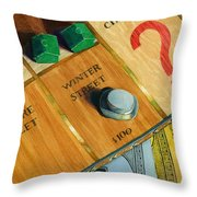 City Island Monopoly Iv Throw Pillow by Marguerite Chadwick-Juner