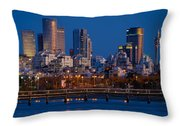 city lights and blue hour at Tel Aviv Throw Pillow by Ron Shoshani