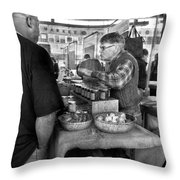 City - South Street Seaport - New Amsterdam Market - Apples And Mustard Throw Pillow by Mike Savad