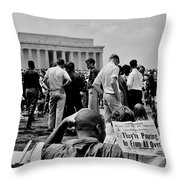 Civil Rights Occupiers Throw Pillow by Benjamin Yeager