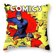 Classic Comic Book Cover - Mystery Men Comics - 1200 Throw Pillow by Wingsdomain Art and Photography